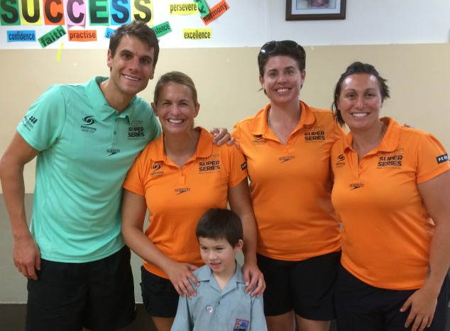 Luke Trickett, Libby Trickett, Kate Hooper and Bec Rippon with year 1 student John